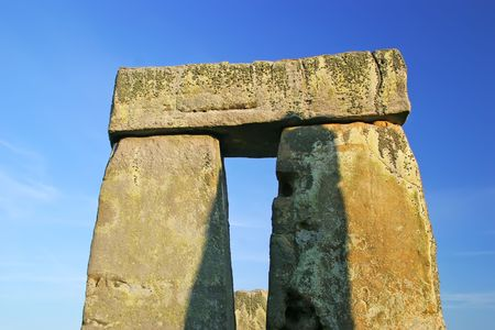 english famous: Closeup of rock formation of Stonehenge outside of Salisbury, England. Stock Photo