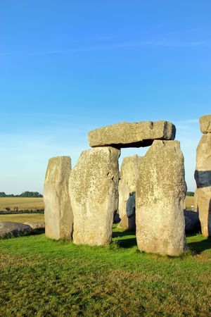 Closeup of rock formation of Stonehenge in England. photo