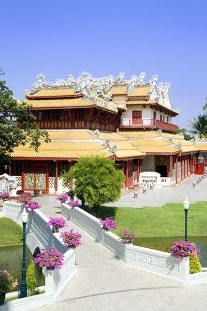 The Royal Residence (Phra Thinang) of the Thai royal summer palace of Bang Pa-In near Ayutthaya and Bangkok. Фото со стока