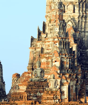 Ruins of the Buddhist temple Wat Chai Wattanaram at sunrise in Ayutthaya near Bangkok, Thailand. photo