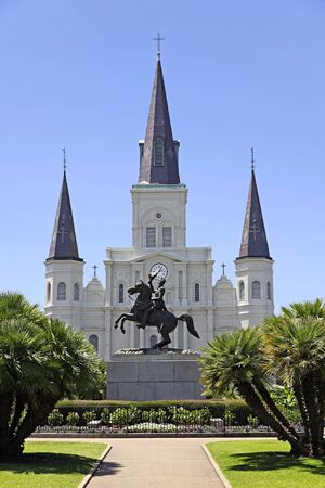 View of Saint Louis Cathedral and General Andrew Jackson statue from across Jackson Square in the French Quarter of New Orleans, Louisiana. Stock Photo