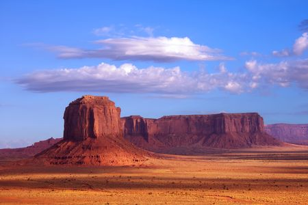 sentinel: Merrick Butte and Sentinel Mesa at Monument Valley on the border of Arizona and Utah.
