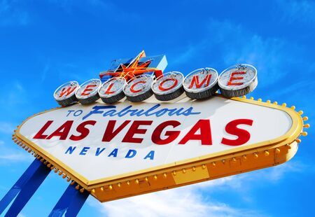 las vegas strip: Colorful picture of the Welcome to Fabulous Las Vegas sign.