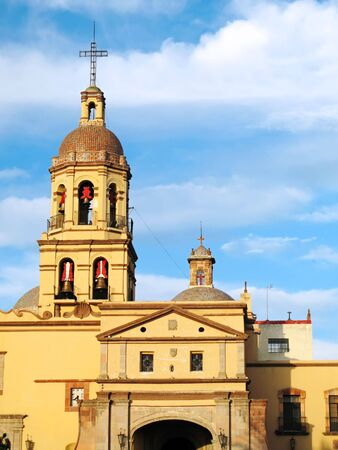 Bell tower of the historic Convento de la Cruz (Convent of the Cross) in the colonial city of Queretaro, Mexico.