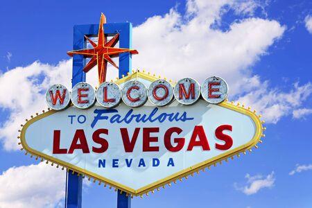 ラスベガスのすばらしい印への歓迎の色鮮やかな画像。