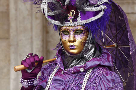 Venice, Italy - February 28, 2011 - An unidentified person in costume in St. Marks Square during the Carnival of Venice on February 28, 2011.  The annual carnival was held in 2011 from February 26th to March 8th.