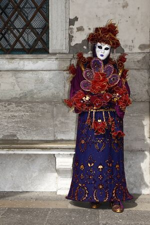 Venice, Italy - March 1, 2011 - An unidentified person in costume in St. Marks Square during the Carnival of Venice on March 1, 2011.  The 2011 carnival was held from February 26th to March 8th.