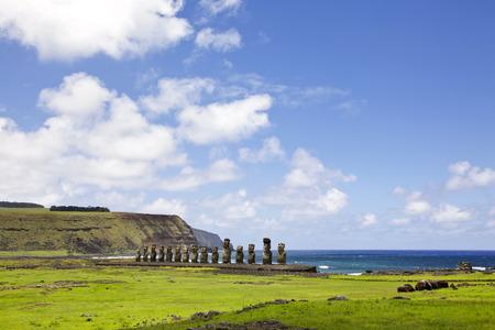 rapa: Ahu Tongariki - the largest ahu on Easter Island.
