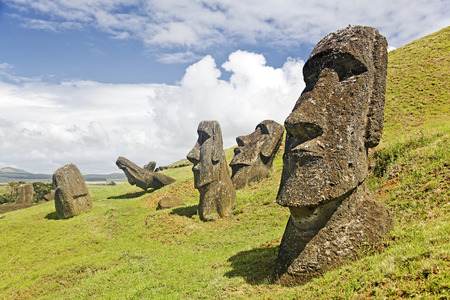 rapa: Moais in Rapa Nui National Park on the slopes of Rano Raruku volcano on Easter Island, Chile.