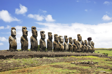 easter island: Ahu Tongariki - the largest ahu on Easter Island.