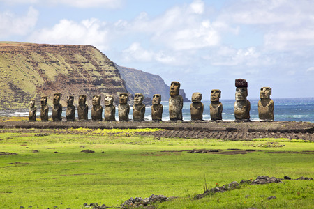 island: Ahu Tongariki - the largest ahu on Easter Island.