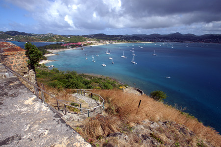 An overview shot of a sailboat filled harbor in St Lucia photo