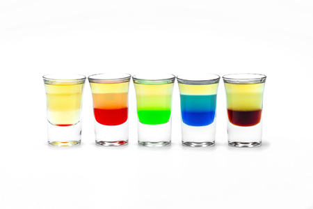 alcoholic drink: five short Alcoholic drink in a glass