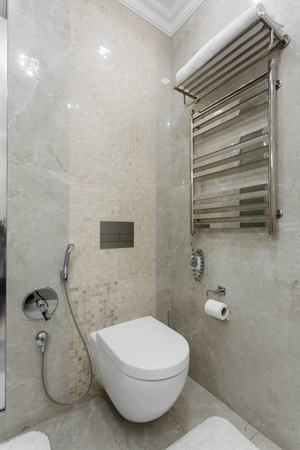 luxury apartment: Interior of a modern bathroom with a sink and heater and toilet Stock Photo