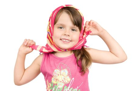 headgear: The small beautiful girl,  smiles,   has bent hands in elbows, holds fingers of edge of a headgear, on white background