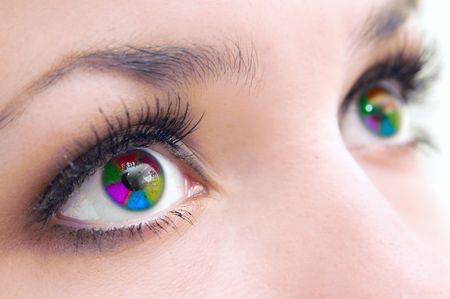 increased: Beautiful female multi-coloured eyes, very close,