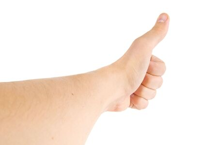 hand lifted: The big finger of a mans hand lifted, upwards, on a white background, is isolated