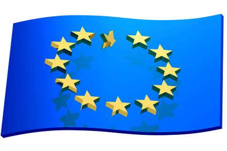 disorganization: blue flag european union, 3d illustration , concept representative disorganization Europe Union Stock Photo