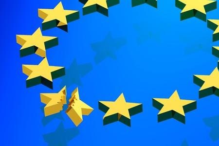 disorganization: blue flag european union, 3d illustration , close, concept representative disorganization Europe Union