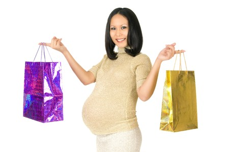 asian young pregnant woman stay with purchase , smile, on  white background, isolated Stock Photo - 7718092