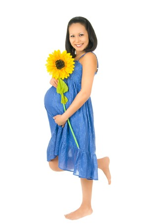 asian young pregnant woman stay with sunflower, smile, on  white background, isolated photo