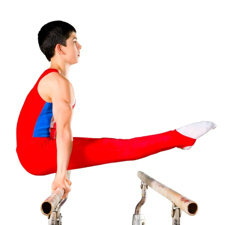 The sportsman the guy, carries out difficult exercise, sports gymnastics, on white background, isolated photo