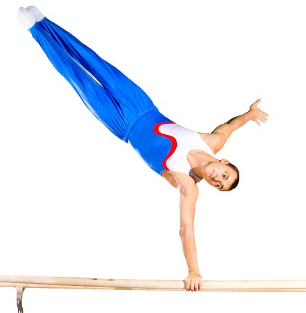 sportsman: The sportsman the guy, carries out difficult exercise, sports gymnastics, on white background, isolated