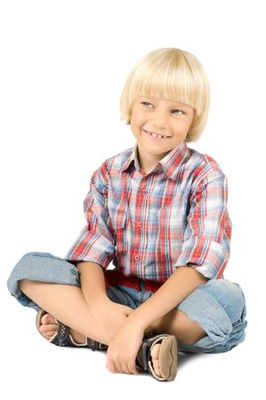 joyfull: the little children boy slyly smile, on white background, isolated