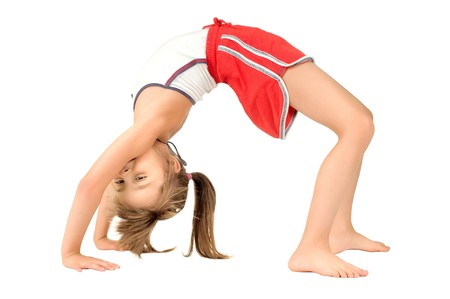 gymnastics girl: little children girl  to arch the back,  head over heels o, on white background, isolated