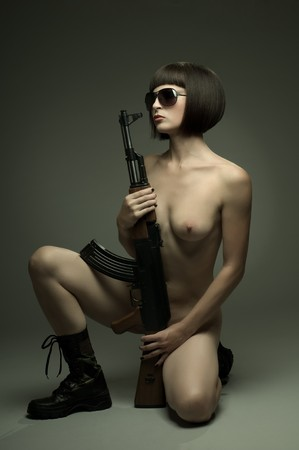 sensuality  beautifull sexy girl nude , on dark background, glamour light