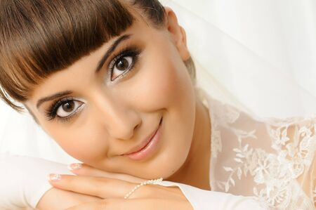 fiancee: The young beautiful  happy fiancee,  close face ,  smile and see on camera Stock Photo