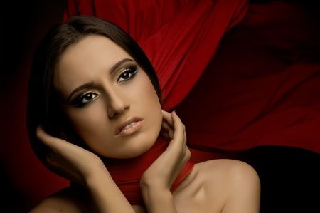 the very  pretty woman with red neckerchief, sensual sexuality gaze... photo