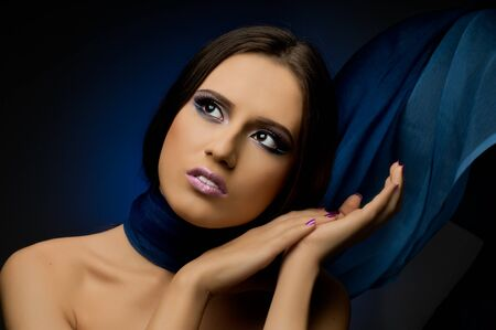 the very  pretty woman with dark blue neckerchief, sensual sexuality gaze... Stock Photo - 8458829