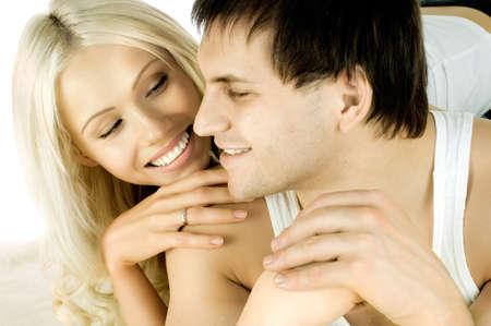 joyfull: very happy  pretty couple, smile,  close face, on white background, isolated