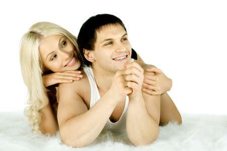 very happy  pretty couple, smile , look and smile , on white background, isolated photo