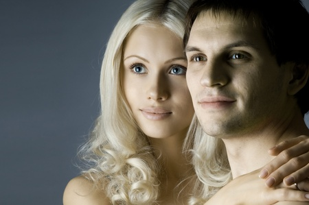 vehement: guy with pretty woman, happy couple, very close face, glamour light