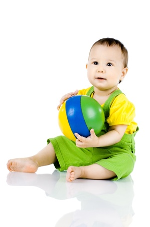 child ball: happy, beautiful,  joy, little kid , play with ball on white background, isolated
