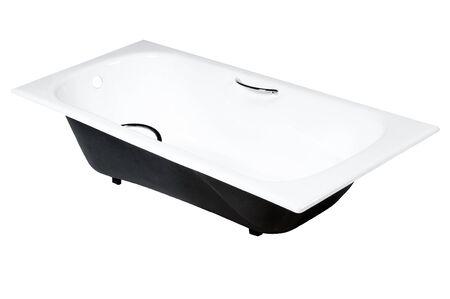 bath tub: horizontal photo one beauty white bath on white background, isolated Stock Photo
