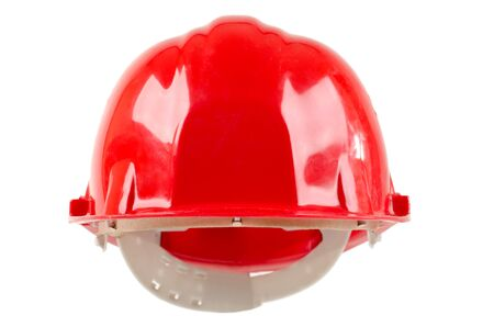 full face: photo  beauty red  safety cap, close up on white background, full face