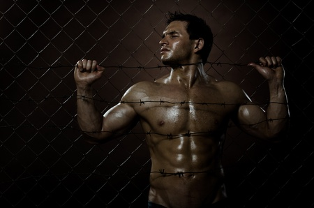felonious: the very muscular handsome felon guy , misery  out of netting   steel fence with  barbed wire Stock Photo