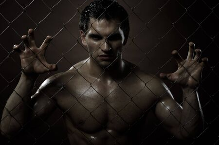the very muscular handsome felon guy ,  out of netting   steel fence Stock Photo - 11386163
