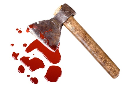 instrument of crime axe in puddle  blood, lie in white background, isolated