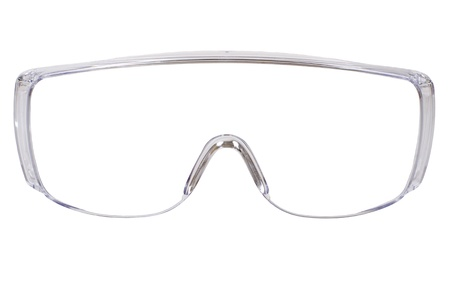 safety goggles: photo gauzy protective spectacles on white background isolated, close up full face