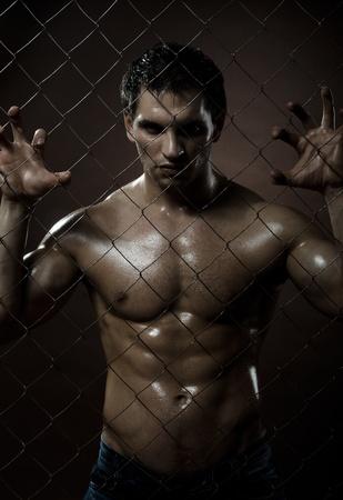 gefesselt: die sehr muskul�s sch�n Schwerverbrecher Kerl, von Netting Stahlzaun Lizenzfreie Bilder