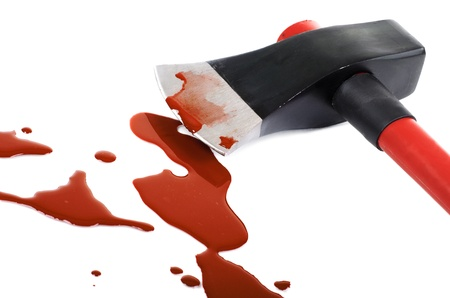 blood clot:  instrument of crime axe close in puddle  blood, lie in white background, isolated