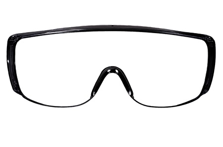 protective spectacles: photo blak protective spectacles on white background isolated, close up full face
