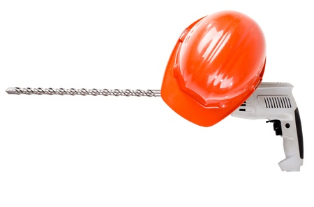 perforator: photo  beauty red  safety cap and perforator with  stone-drill, close up on white background, isolated
