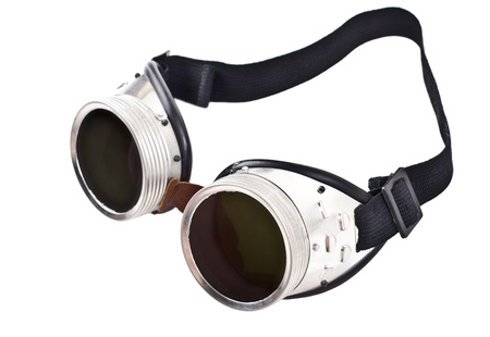 protective spectacles: photo blak  welded protective spectacles on white background isolated, close up