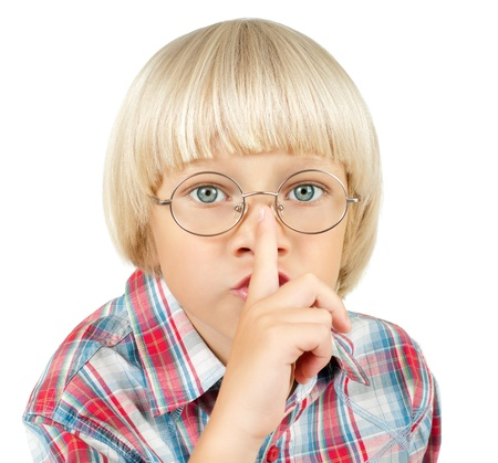 little children boy stare on camera,  put finger to nose, on white background, isolated Stock Photo - 11971797