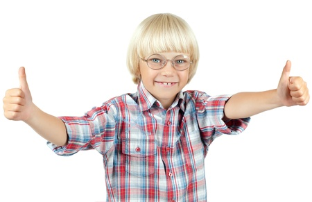 little children  schoolboy look on camera,   thumb up and smile, on white background, isolated photo
